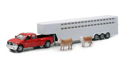 Dodge Ram Fifth Wheel with Livestock Trailer and Cattle