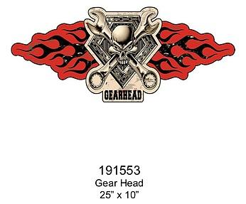 Embossed Sign Gear Head