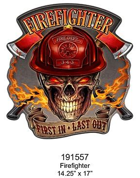 Embossed Sign Firefighter