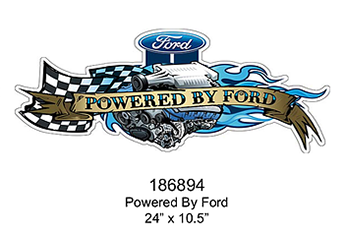 Embossed metal sign ' POWERED BY FORD '
