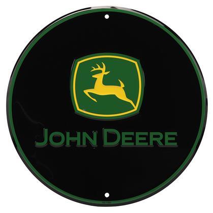 Round John Deere Embossed Sign