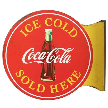 COCA-COLA SOLD HERE EMBOSSED TIN SIGN (13.5