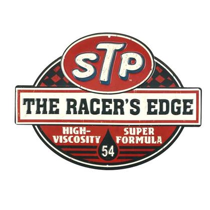 STP RACER'S EDGE EMBOSSED TIN SIGN (14