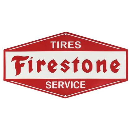 FIRESTONE SERVICE EMBOSSED TIN SIGN (13