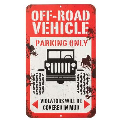 OFF ROAD VEHICLE Parking EMBOSSED TIN SIGN (8