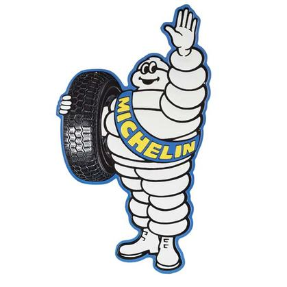 MICHELIN MAN PILLOW EMBOSSED TIN SIGN (18