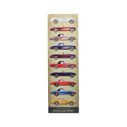 CORVETTE VERTICAL EMBOSSED TIN SIGN (9