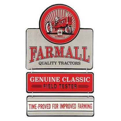 FARMALL QUALITY TRACTORS EMBOSSED TIN LINKED SIGN (11.5