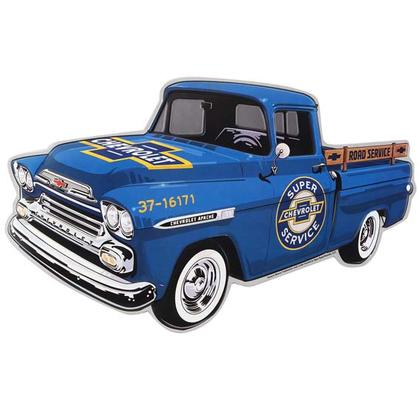 CHEVY TRUCK BLUE EMBOSSED TIN SIGN (16
