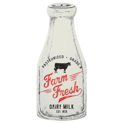 FARM FRESH MILK BOTTLE EMBOSSED TIN SIGN (5.5