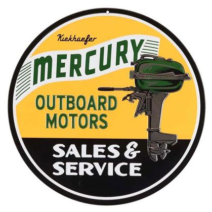 MERCURY MARINE ROUND EMBOSSED TIN SIGN (12