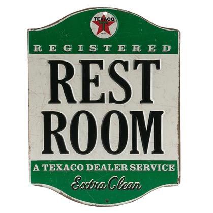 TEXACO RESTROOM EMBOSSED TIN SIGN (6