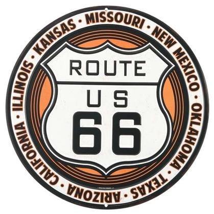 ROUTE 66 ROUND TIN SIGN (12
