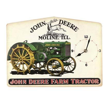 JOHN DEERE EMBOSSED TIN CLOCK (14
