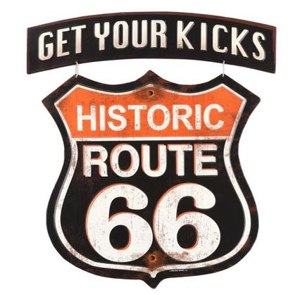 ROUTE 66 EMBOSSED TIN LINKED SIGN (16