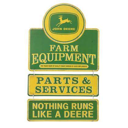 JOHN DEERE EMBOSSED TIN LINKED SIGN (11.5