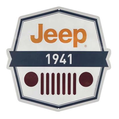 JEEP 1941 OCTAGON EMBOSSED TIN SIGN 12
