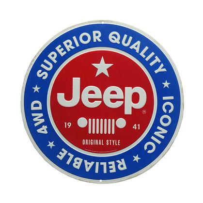 JEEP ROUND EMBOSSED TIN SIGN 12