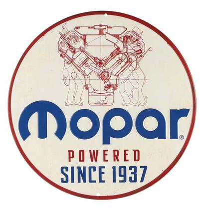 MOPAR POWERED EMBOSSED TIN SIGN 12