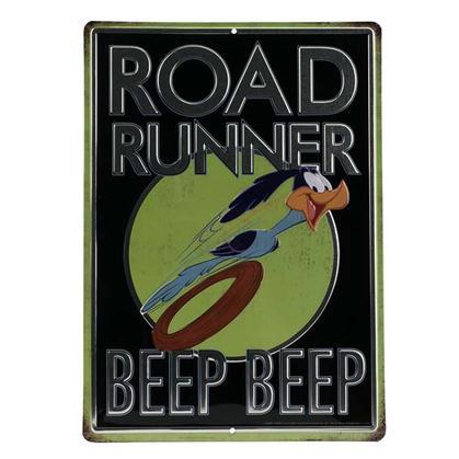 ROAD RUNNER BLACK EMBOSSED TIN SIGN 10