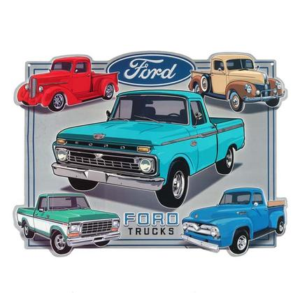 FORD TRUCK COLLAGE EMBOSSED TIN SIGN 17