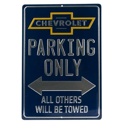 CHEVROLET PARKING ONLY EMBOSSED TIN SIGN 10