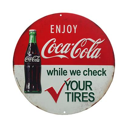 COCA-COLA TIRE CHECK ROUND EMBOSSED TIN SIGN 12