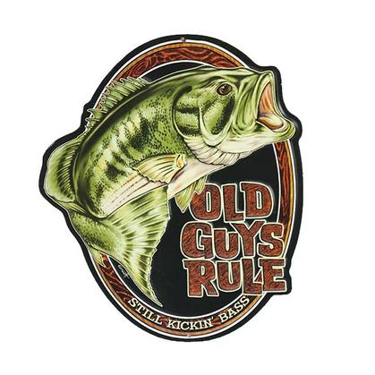 OLD GUYS RULE BASS EMBOSSED TIN SIGN 10