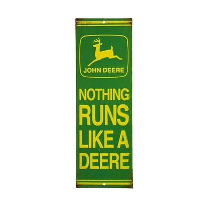 JOHN DEERE LIKE A DEERE EMBOSSED TIN SIGN 4.3