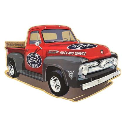 FORD TRUCK LONG EMBOSSED TIN SIGN (19