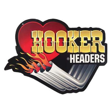 HOOKER HEADERS EMBOSSED TIN SIGN (18