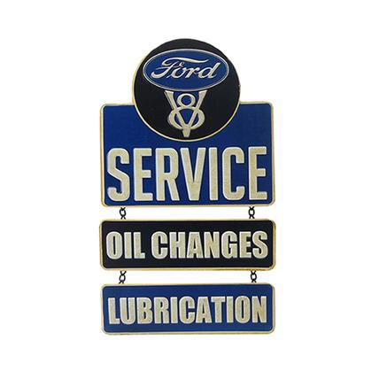 FORD SERVICE EMBOSSED LINKED TIN SIGN (9
