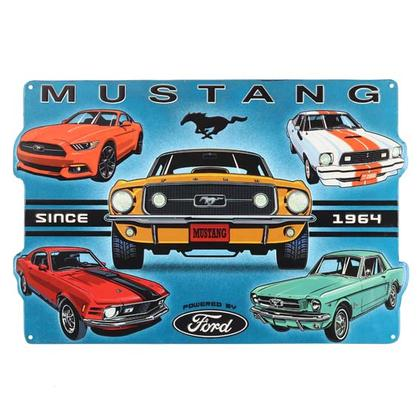 FORD MUSTANG COLLAGE EMBOSSED TIN SIGN (18