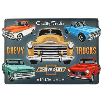 CHEVY TRUCK COLLAGE EMBOSSED TIN SIGN (18