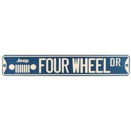 JEEP FOUR WHEEL EMBOSSED TIN STREET SIGN (20
