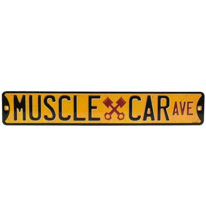 MUSCLE CAR AVE. EMBOSSED STREET TIN SIGN (20