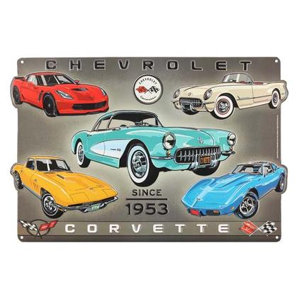 CORVETTE SINCE 53 COLLAGE EMBOSSED TIN SIGN (18
