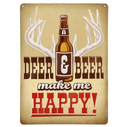DEER & BEER HAPPY EMBOSSED TIN SIGN (9.5