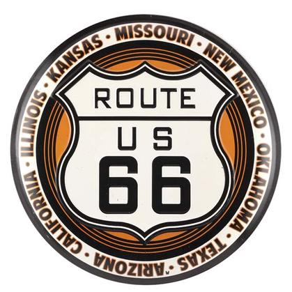 ROUTE 66 EMBOSSED TIN BUTTON (13