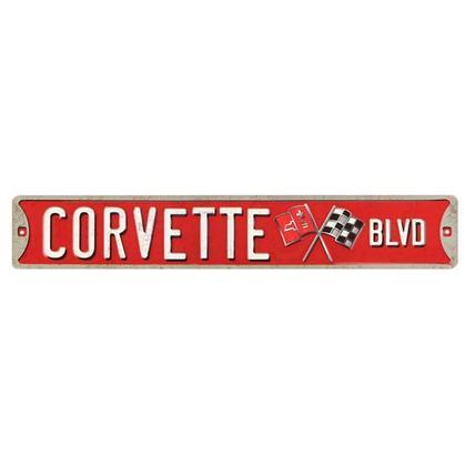 CORVETTE BLVD. EMBOSSED TIN STREET SIGN (20