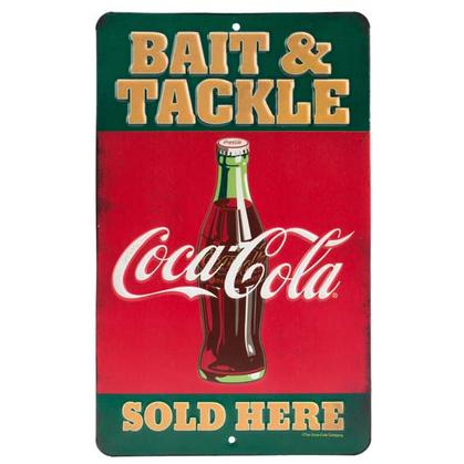 COCA-COLA BAIT & TACKLE EMBOSSED TIN SIGN (6