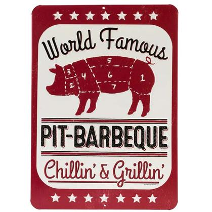 PIT BBQ EMBOSSED TIN SIGN (10