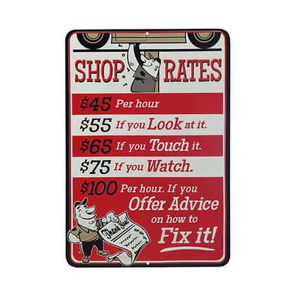 SHOP RATES RED EMBOSSED TIN SIGN (10