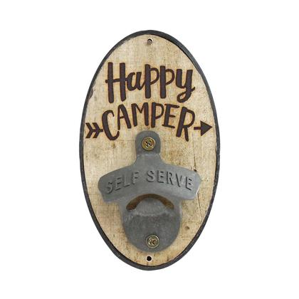 OVAL HAPPY CAMPER BOTTLE OPENER (3.5