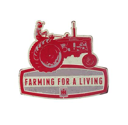FARMING FOR A LIVING FARMALL EMBOSSED TIN SIGN 14