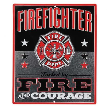 FIREFIGHTER EMBOSSED TIN SIGN 10