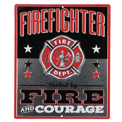 FIREFIGHTER EMBOSSED TIN SIGN 10
