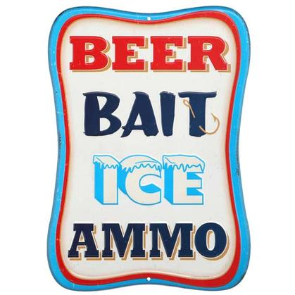 BEER BAIT ICE AMMO BLUE EMBOSSED TIN SIGN 10