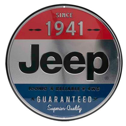 JEEP 1941 ROUND EMBOSSED TIN SIGN 12