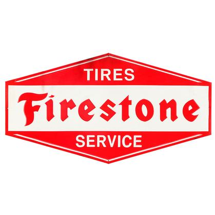 TIRES FIRESTONE SERVICE RUSTIC EMBOSSED TIN SIGN 26